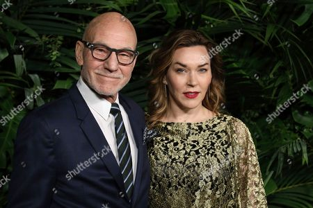 Patrick Stewart, Sunny Ozell. Sir Patrick Stewart, left, and Sunny Ozell arrive at the 2020 Chanel Pre-Oscar Dinner at The Beverly Hills Hotel, in Beverly Hills, Calif