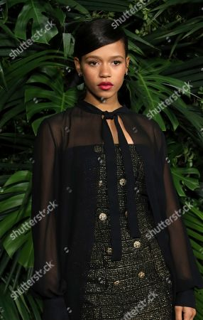 Taylor Russell arrives at the 2020 Chanel Pre-Oscar Dinner at The Beverly Hills Hotel, in Beverly Hills, Calif