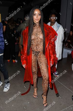 Tinashe attends NYFW Fall/Winter 2020 - LaQuan Smith at Spring Studios, in New York