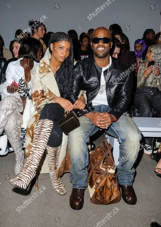 Renell Medrano, left, and ASAP Ferg attend NYFW Fall/Winter 2020 - LaQuan Smith at Spring Studios, in New York