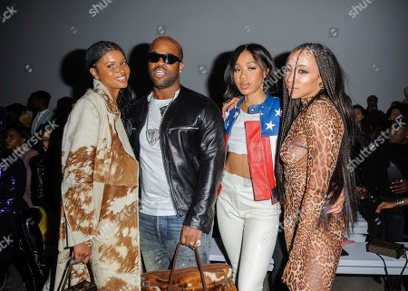 Stock Image of Renell Medrano, from left, ASAP Ferg, guest, and Tinashe attend NYFW Fall/Winter 2020 - LaQuan Smith at Spring Studios, in New York