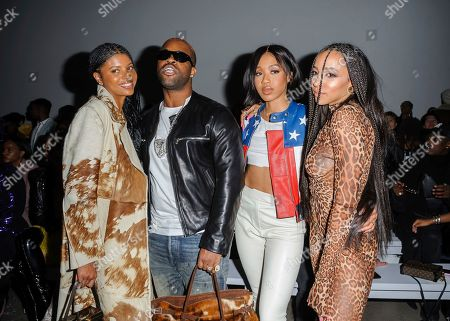 Renell Medrano, from left, ASAP Ferg, guest, and Tinashe attend NYFW Fall/Winter 2020 - LaQuan Smith at Spring Studios, in New York