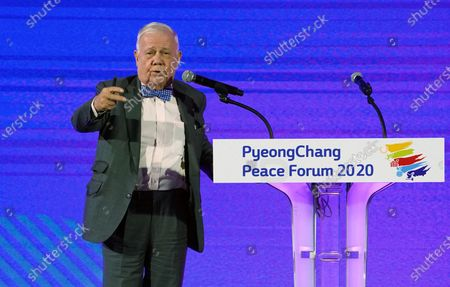 Jim Rogers, Rogers Holdings Investment Expert and Author, speaks during the opening ceremony of Pyeongchang Peace Forum