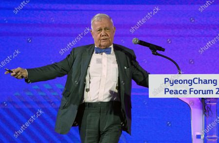 Stock Image of Jim Rogers, Rogers Holdings Investment Expert and Author, speaks during the opening ceremony of Pyeongchang Peace Forum