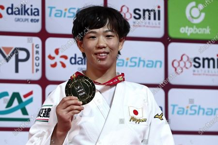 Yoko Ono of Japan celebrates her Gold Medal during the award ceremony of the women's  -70kg event at the Paris Grand Slam judo tournament, in Paris, France, 09 February 2020.