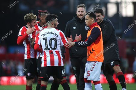 Stock Photo of Ravel Morrison of Middlesbrough shakes hands with Said Benrahma of Brentford at the final whistle during Brentford vs Middlesbrough, Sky Bet EFL Championship Football at Griffin Park on 8th February 2020