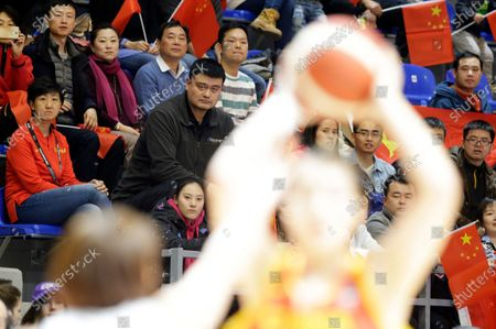 Chinese basketball executive Yao Ming (C) looks on during the Women's Olympic Qualifying Tournament game between South Korea and China in Belgrade, Serbia, 09 February 2020.
