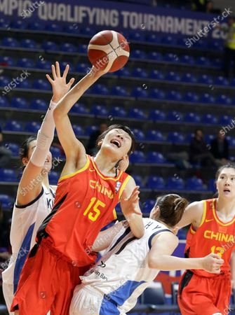 China's Xu Han (C) in action against South Korea's Hyeyoon Bae (R) and South Korea's Ji Su Park (L) during the Women's Olympic Qualifying Tournament game between South Korea and China in Belgrade, Serbia, 09 February 2020.