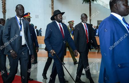 South Sudan's President Salva Kiir Mayardit, center, arrives for the opening session of the 33rd African Union (AU) Summit at the AU headquarters in Addis Ababa, Ethiopia. Topics on the table for discussion included the situations in Libya and Sudan, as well as President Donald Trump's Middle East initiative