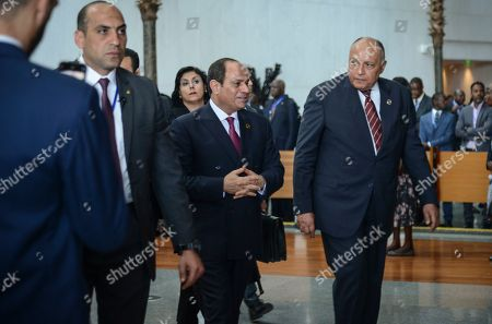Egypt's President Abdel Fattah al-Sisi, center, the outgoing Chairman of the African Union (AU), arrives for the opening session of the 33rd AU Summit and to hand over the chairmanship to South Africa's President Cyril Ramaphosa, at the AU headquarters in Addis Ababa, Ethiopia. Topics on the table for discussion included the situations in Libya and Sudan, as well as President Donald Trump's Middle East initiative