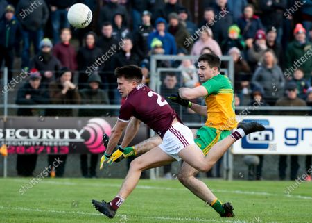Donegal vs Galway. Donegal's Caolan McGonagle and Galway's Sean Kelly