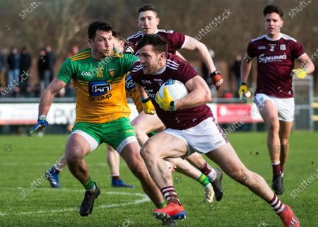 Donegal vs Galway. Donegal's Paul Brennan and Galway's Damien Comer