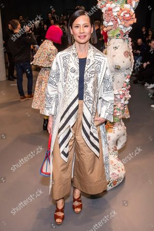 Lucy Liu attends the Tory Burch fashion show at Sotheby's during NYFW Fall/Winter 2020, in New York