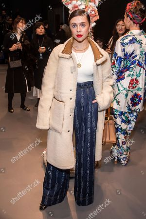 Bel Powley attends the Tory Burch fashion show at Sotheby's during NYFW Fall/Winter 2020, in New York