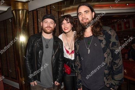 Danny Worsnop, Lzzy Hale, Joe Hottinger. Danny Worsnop of Asking Alexandria, from left, Lzzy Hale and Joe Hottinger of Halestorm are seen on board the Carnival Valor during day five of the ShipRocked cruise on
