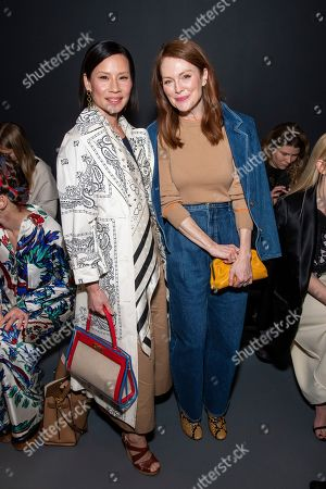 Stock Image of Lucy Liu and Julianne Moore attend the Tory Burch fashion show at Sotheby's during NYFW Fall/Winter 2020 on in New York