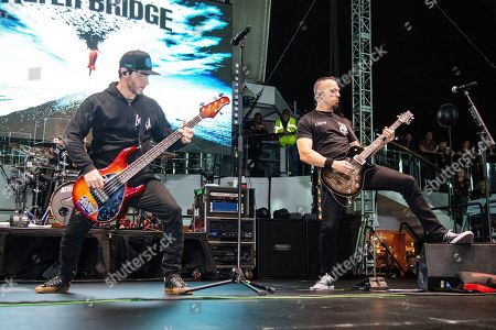 Stock Picture of Brian Marshall, Mark Tremonti. Brian Marshall, left, and Mark Tremonti of Alter Bridge are seen on board the Carnival Valor during day three of the ShipRocked cruise on
