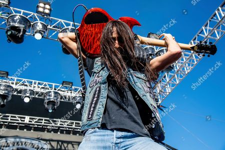 Dario Lorina of The Stowaways is seen on board the Carnival Valor during day three of the ShipRocked cruise on