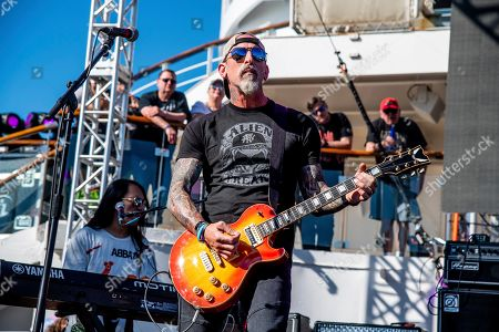 John Connolly of The Stowaways is seen on board the Carnival Valor during day three of the ShipRocked cruise on