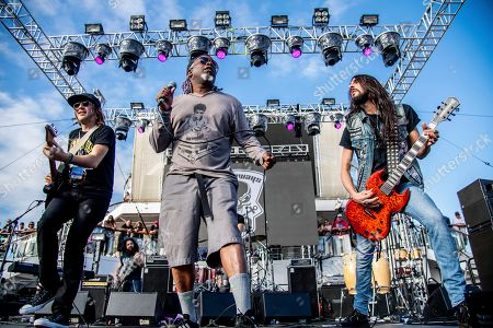 Andy Wood Corey Glover Dario Lorina. Andy Wood, from left, Corey Glover, and Dario Lorina of The Stowaways is seen on board the Carnival Valor during day three of the ShipRocked cruise on