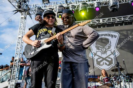 Stock Picture of Andy Wood Corey Glover. Andy Wood, left, and Corey Glover of The Stowaways is seen on board the Carnival Valor during day three of the ShipRocked cruise on