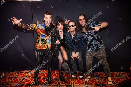 Lzzy Hale, Arejay Hale, Josh Smith, Joe Hottinger. Lzzy Hale, from left, Arejay Hale, Josh Smith and Joe Hottinger of Halestorm are seen on board the Carnival Valor during day two of the ShipRocked cruise on