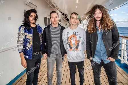 Stock Photo of Alex Espiritu, Anthony Sonetti, Josh Katz, Joseph Paul Morrow. Alex Espiritu, from left, Anthony Sonetti, Josh Katz, and Joseph Paul Morrow of Badflower are seen on board the Carnival Valor during day two of the ShipRocked cruise on
