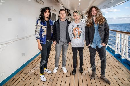 Stock Picture of Alex Espiritu, Anthony Sonetti, Josh Katz, Joseph Paul Morrow. Alex Espiritu, from left, Anthony Sonetti, Josh Katz, and Joseph Paul Morrow of Badflower are seen on board the Carnival Valor during day two of the ShipRocked cruise on