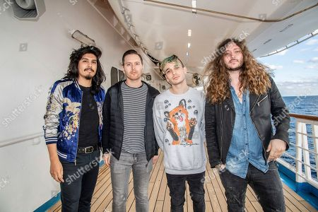 Alex Espiritu, Anthony Sonetti, Josh Katz, Joseph Paul Morrow. Alex Espiritu, from left, Anthony Sonetti, Josh Katz, and Joseph Paul Morrow of Badflower are seen on board the Carnival Valor during day two of the ShipRocked cruise on