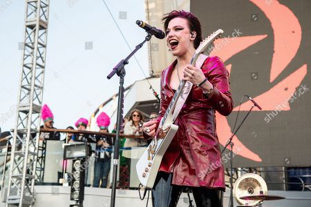 Lzzy Hale of Halestorm is seen on board the Carnival Valor during day one of the ShipRocked cruise on