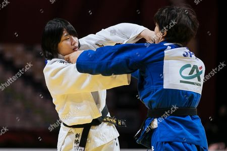 Saki Niizoe (white) competes against Yoko Ono also of Japan (blue) during the women's -70kg final match at the Grand Slam Paris 2020 Judo tournament, in Paris, France