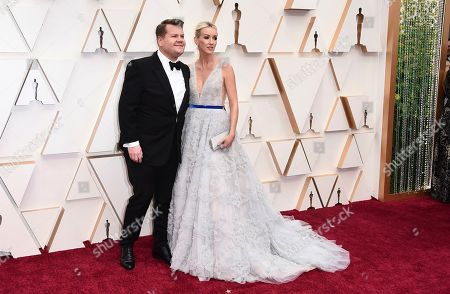 James Corden, Julia Carey. James Corden, left, and Julia Carey arrive at the Oscars, at the Dolby Theatre in Los Angeles
