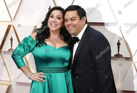 Stock Image of Kristen Anderson-Lopez (L) and Robert Lopez arrive for the 92nd annual Academy Awards ceremony at the Dolby Theatre in Hollywood, California, USA, 09 February 2020. The Oscars are presented for outstanding individual or collective efforts in filmmaking in 24 categories.