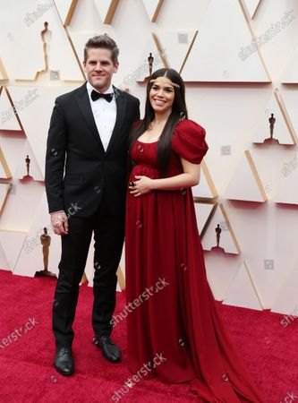 Stock Image of America Ferrera (R) and husband Ryan Piers Williams arrive for the 92nd annual Academy Awards ceremony at the Dolby Theatre in Hollywood, California, USA, 09 February 2020. The Oscars are presented for outstanding individual or collective efforts in filmmaking in 24 categories.