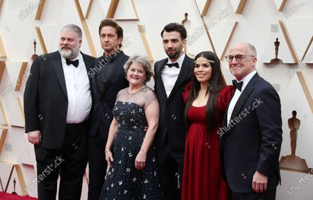Stock Picture of Dean DeBlois, Gerard Butler, Bonnie Arnold, Jay Baruchel, America Ferrera, and Brad Lewis arrive for the 92nd annual Academy Awards ceremony at the Dolby Theatre in Hollywood, California, USA, 09 February 2020. The Oscars are presented for outstanding individual or collective efforts in filmmaking in 24 categories.