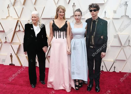 Stock Picture of Laura Dern (2-L), her mother Diane Ladd (L), and her children Jaya Harper (2-R) and Ellery Walker (R) arrive for the 92nd annual Academy Awards ceremony at the Dolby Theatre in Hollywood, California, USA, 09 February 2020. The Oscars are presented for outstanding individual or collective efforts in filmmaking in 24 categories.