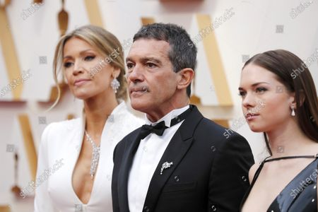 Nicole Kimpel, Antonio Banderas, and Stella Banderas arrive for the 92nd annual Academy Awards ceremony at the Dolby Theatre in Hollywood, California, USA, 09 February 2020. The Oscars are presented for outstanding individual or collective efforts in filmmaking in 24 categories.