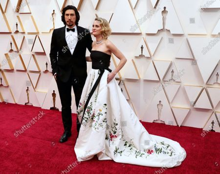 Adam Driver (L) and Joanne Tucker arrive for the 92nd annual Academy Awards ceremony at the Dolby Theatre in Hollywood, California, USA, 09 February 2020. The Oscars are presented for outstanding individual or collective efforts in filmmaking in 24 categories.