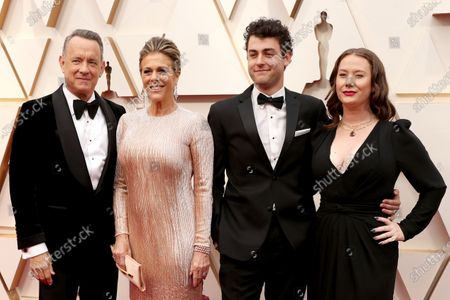 Tom Hanks, Rita Wilson, Truman Hanks and Elizabeth Hanks arrive for the 92nd annual Academy Awards ceremony at the Dolby Theatre in Hollywood, California, USA, 09 February 2020. The Oscars are presented for outstanding individual or collective efforts in filmmaking in 24 categories.