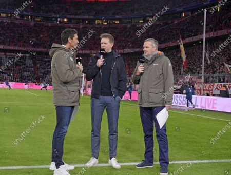 09.02.2020, Football 1. Bundesliga 2019/2020, 21. match day, FC Bayern Muenchen - RB Leipzig, in Allianz-Arena Muenchen. Trainer Julian Nagelsmann (middle, RB Leipzig) SKY-Sport Interview and Sebastian Hellmann and Dietmar Hamann.