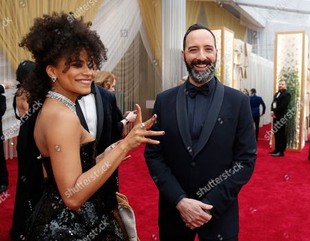Tony Hale, Zazie Beetz. Zazie Beetz, left, and Tony Hale arrive at the Oscars, at the Dolby Theatre in Los Angeles