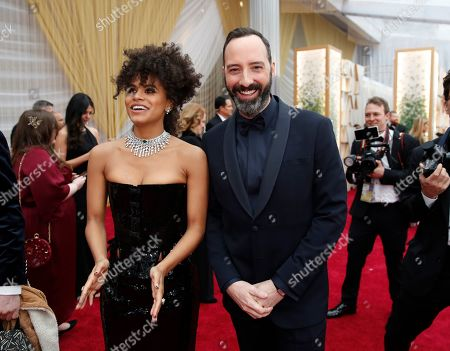 Zazie Beetz, Tony Hale. Zazie Beetz, left, and Tony Hale arrive at the Oscars, at the Dolby Theatre in Los Angeles