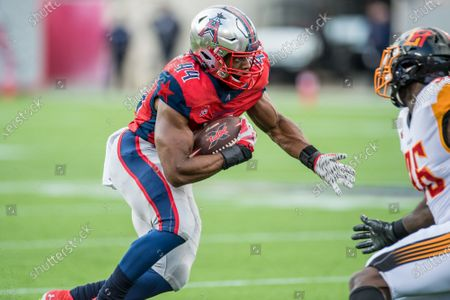 Stock Picture of Houston Roughnecks running back Andre Williams (44) runs after making a catch during the 1st quarter of an XFL football game between the LA Wildcats and the Houston Roughnecks at TDECU Stadium in Houston, TX. The Roughnecks won the game 37 to 17