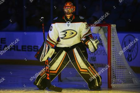 Anaheim Ducks goalie Ryan Miller (30) looks on prior to the first period of an NHL hockey game against the Buffalo Sabres, in Buffalo, N.Y