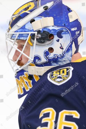 Stock Photo of Buffalo Sabres goalie Andrew Hammond (36) looks on prior to the first period of an NHL hockey game against the Anaheim Ducks, in Buffalo, N.Y