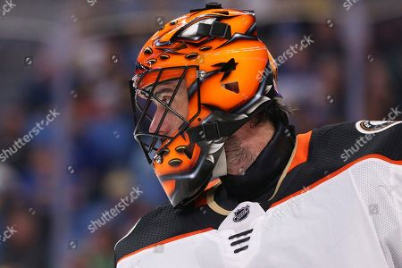 Anaheim Ducks goalie Ryan Miller (30) skates during the first period of an NHL hockey game against the Buffalo Sabres, in Buffalo, N.Y