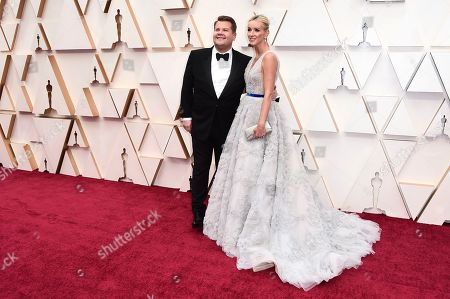 James Corden, Julia Carey. James Corden, left, and Julia Carey arrives at the Oscars, at the Dolby Theatre in Los Angeles