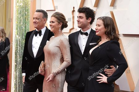 Stock Picture of Tom Hanks, Rita Wilson, Truman Hanks, Elizabeth Hanks. Tom Hanks, from left, Rita Wilson, Truman Hanks, and Elizabeth Hanks arrive at the Oscars, at the Dolby Theatre in Los Angeles