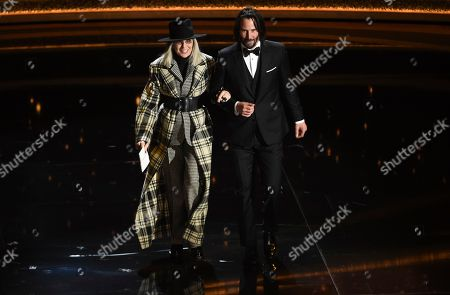 Diane Keaton, Keanu Reeves. Diane Keaton, left, and Keanu Reeves appear on stage at the Oscars, at the Dolby Theatre in Los Angeles