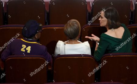 Spike Lee, Tonya Lewis Lee, Sigourney Weaver. Spike Lee, from left, Tonya Lewis Lee and Sigourney Weaver are seen in the audience before the start of the Oscars, at the Dolby Theatre in Los Angeles